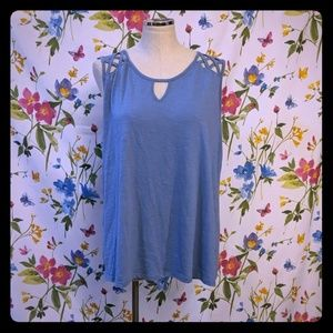 French laundry cotton tank top blue gray Cami 1X